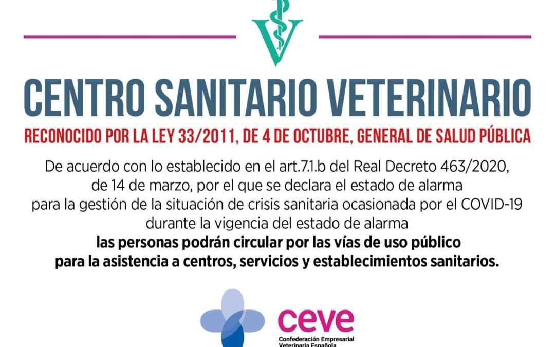 Los Centros Veterinarios seguimos abiertos al público